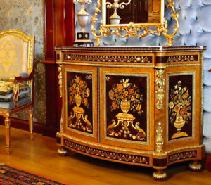 BRAND NEW Luxurious Inlaid Sideboard, Made in Italy, 24K Gold Finished Bronze