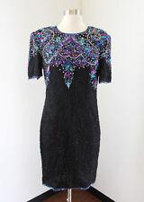 Vtg Stenay Black Silk Beaded Sequin Evening Cocktail Dress Size 8 Blue Pink