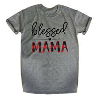 Womens Blessed Mama Funny T-Shirt Moms Gift Short Sleeve Tops O neck Family Tee