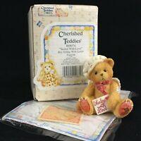 VTG Enesco Cherished Teddies Figurine Boy Bear Angel 869074 Sealed With Love '94