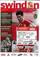 Football Programme plus Match Ticket>SWINDON TOWN v NOTTS COUNTY Apr 2011