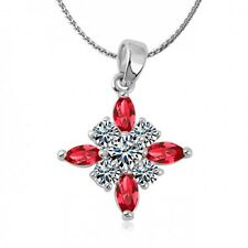 18K WHITE GOLD  PLATED CROSS NECKLACE WITH RED & CLEAR CZ & AUSTRIAN CRYSTALS