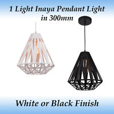 1 Light Inaya 300mm Pendant Light in White or Black Finish