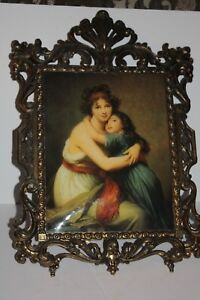 Vintage Ornate Brass Frame Made in Italy Beautiful Portrait Mother and Child