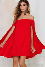 Nasty Gal Off-the-Shoulder Dramatic Cape Dress Red Medium M NEW!