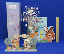 Easter Tree 12 Ornaments Eggs Chicks Bunnies Wooden Shelf Decor 2 Books Lot of 4
