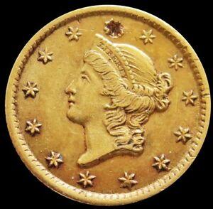 1851 O GOLD UNITED STATES LIBERTY HEAD $1 DOLLAR TYPE 1 *DAMAGED