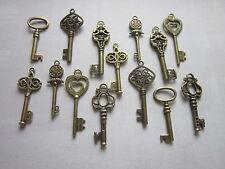 Antique Bronze Skeleton Keys Wedding Steampunk Vintage Pendant Charm Fancy