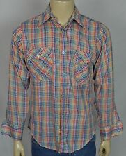 Vtg Levi's White Tab Multicolor Plaid L/S Shirt Men's Sz Medium 65/35 *Gauze