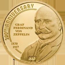 5 $ 2017 Cook Islands Gold - 100 Jahre Graf Zeppelin Proof
