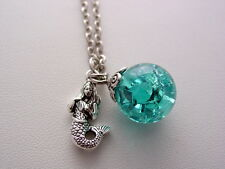 H2O Just Add Water Aqua Crackled Blue Splash Moon Pool Necklace Mermaid Charm