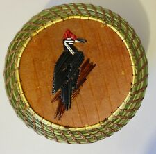 Pileated Woodpecker: Larger round coiled sweetgrass basket-Paul St. John-Mohawk