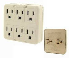 6 Outlet Electrical Power Grounded Wall Socket AC Tap Adapter