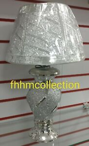 Crushed Crystal Diamond Diamante Table LED Vase Lamp Light Silver Bling NEW