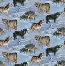 Springs Wild Wings Silver Shadows 66443 Wolves  Cotton Fabric