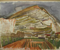 """Horst Heinen (1927-2001)  """"Südliche Berglandschaft mit Häusern"""" großes Aquarell"""