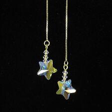 """SJ1"" 14K Gold Vermeil Threader Star Dangle Earrings w/ Clear Swarovski Crystal"