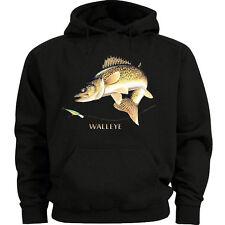 Walleye sweatshirt Men's size sweat shirt black fishing gift idea for him hoodie