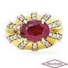 Estate Diamond 4.75cts Ruby 18K Gold Cluster Ring 15.6 Grams NR