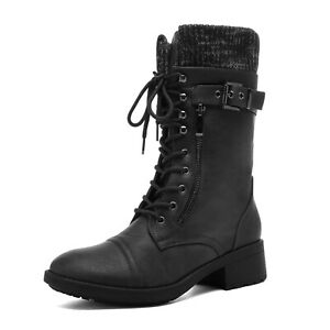 Womens Mid Calf Combat Riding Boots Winter Warm Fur Lace Up Boots Shoes Size US