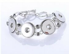 18-20mm High Quality Metal (Silver) Fit 5 Buttons Snap On Bracelet