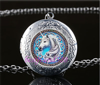 Celtic Unicorn Photo Cabochon Glass Tibet Silver Locket Pendant Necklace