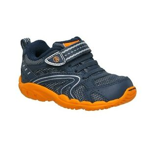 Striderite NON -Tie Sneakers Navy and Orange NEW Infant Boys Size 4 Wide