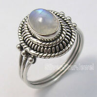 925 Sterling Silver Fiery RAINBOW MOONSTONE LADIES' VINTAGE STYLE Ring Any Size
