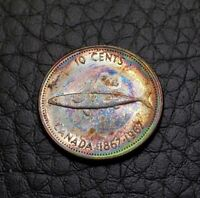 Toned Silver 1967 Canada 10 Cents Dime