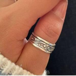 925 Sterling Silver Spinner Ring Meditation Statement Handmade Jewelry Sk04