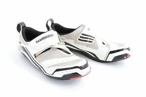 USED Shimano SH-TR32 Size US 10.5 EU 46 White/Black Triathlon Tri Shoes