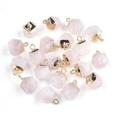 20× Electroplate Natural Rose Quartz Charm Faceted Gold Finding Pendant Gemstone