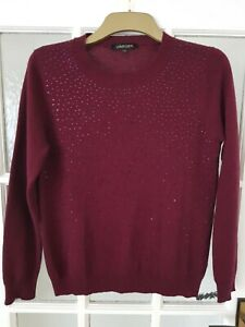 JAEGER wool and cashmere blend studded front  jumper size M