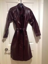 Vintage Classic Directions Brown Leather Coat Trench Missy Size 12 Zip Out Liner