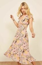 REFORMATION CONGA PINK FLORAL BUTTERFLY RIEGAN RUFFLE MIDI DRESS sz 2