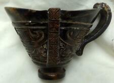 ANTIQUE CHINESE CARVED HORN LIBATION CUP