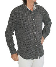 "Benzini  Men's Long Sleeved Shirt Black with small white dots will fit 40"" chest"
