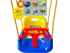 Blue 3-in-1 Kid Swing Outdoor Indoor Play Patio Garden Hanging Kits Littlefun