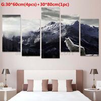 Home Decor Canvas Prints Painting Wall Art Snow Mountain Plateau Wolf Unframe AU
