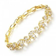 BRAND NEW 18K YELLOW GOLD PLATED & CLEAR CUBIC ZIRCONIA TENNIS  BRACELET