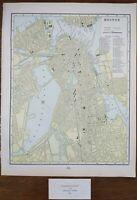 "Vintage 1900 BOSTON MASSACHUSETTS Map 11""x14"" ~ Old Antique Original WELLESLEY"
