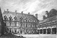 ORIGINAL ETCHING Print - FRANCE Bussy Rabutin Castle Interior Court