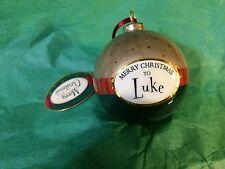 MERRY CHRISTMAS to LUKE Paper Mache Ball Ornament STOCKING STUFFER Teacher