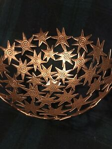 Tobin James Winery Antiqued Copper Colored Star Basket/Fruit Bowl/Centerpiece 2