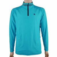 G/FORE Men's Skull 1/4 Zip Mid-Layer Pullover Shirt Jacket Teal Blue Size S-M