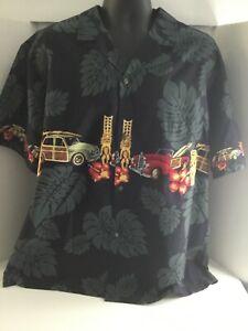 Royal Creations Hawaiian Black Short Sleeves Men's Button Down Shirt Size XL