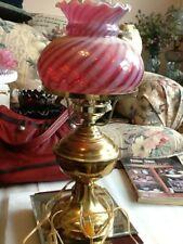 "Fenton 18"" T Cranberry Swirl Student Lamp"
