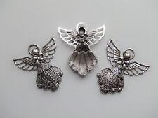 2pz charms ciondoli Angelo 42x40mm,bijoux angeli colore argento tibet