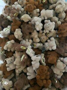 "Vintage Mini Flocked Fuzzy 1"" Toy Teddy Bears Vending Charm Prize NOS lot of 3"
