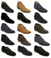 Mens Suede Boots Smart Casual Lace Up Shoes High Top Ankle Formal Footwear 6-12